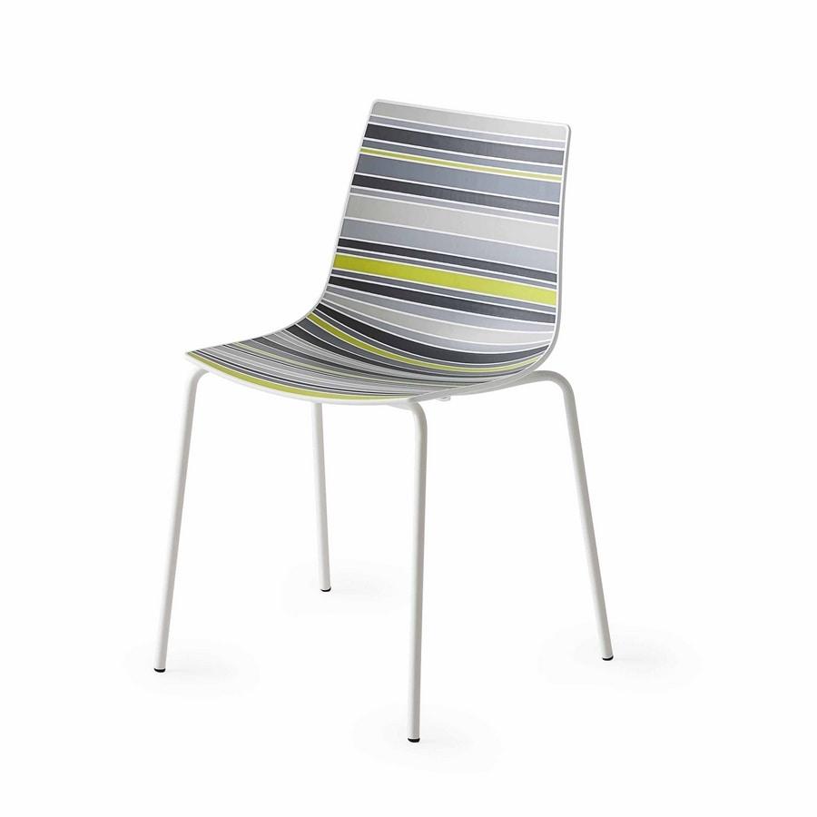 Sedia con scocca in materiale plastico con fantasia a righe  IDFdesign