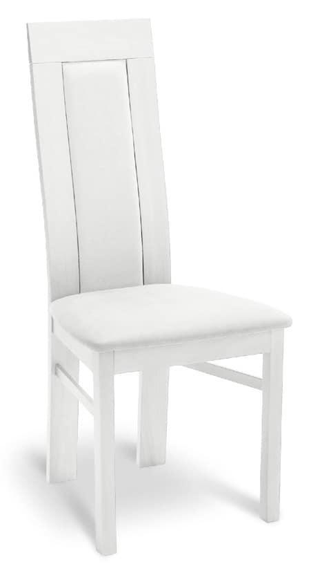 Sedia in legno imbottita con schienale alto per
