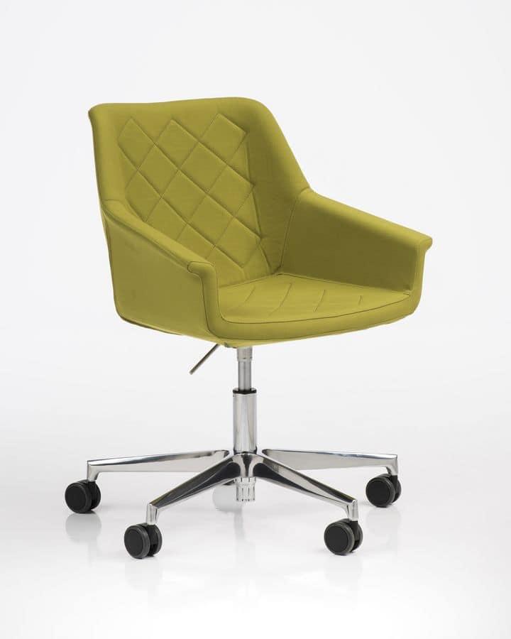 Sedia imbottita con ruote per ufficio girevole moderna  IDFdesign
