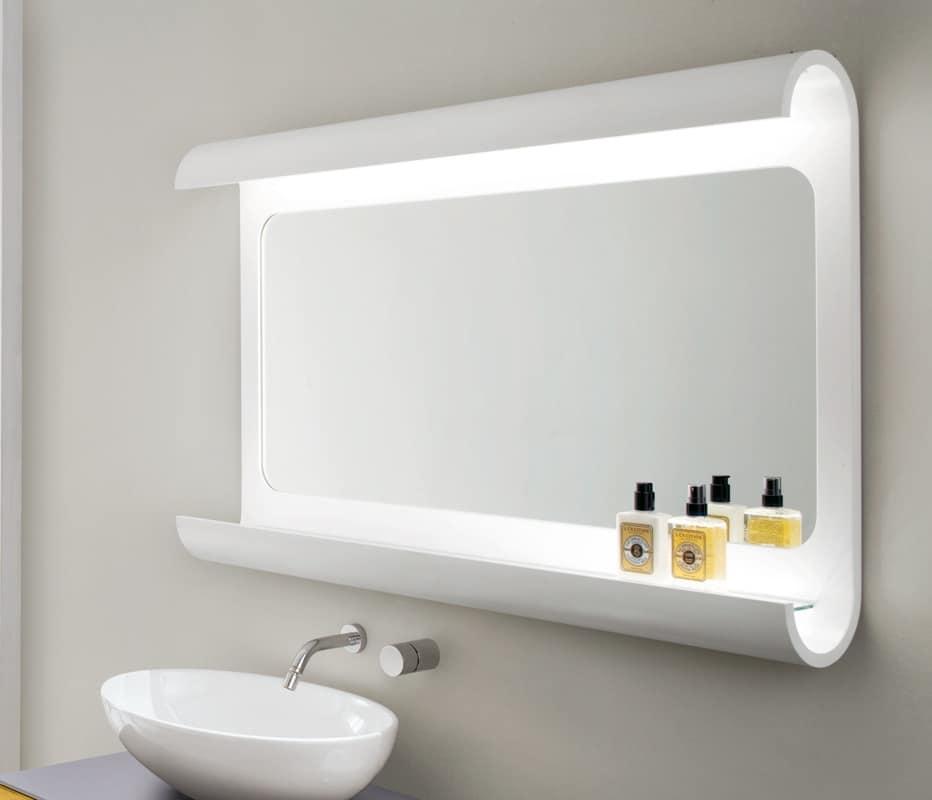 Specchiera da bagno in legno curvato con luce a led