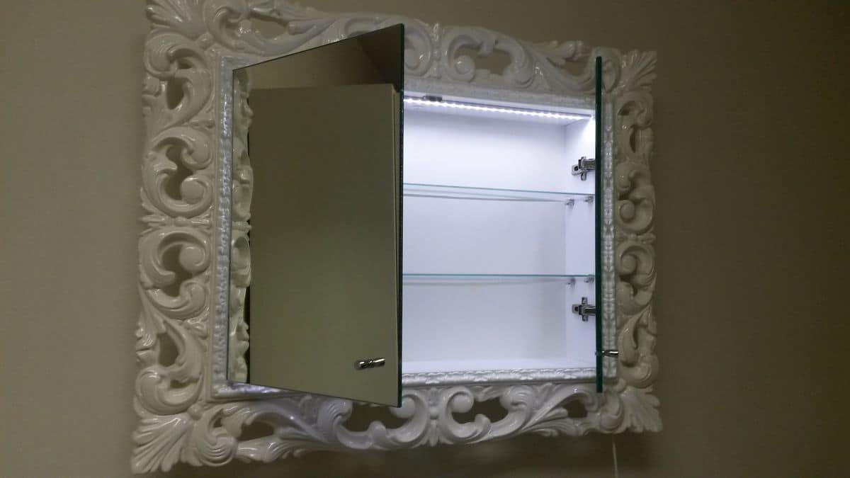Specchiera laccata per bagno con mensole interne  IDFdesign