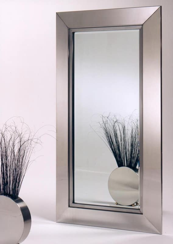 Specchiera bisellata in acciaio inox lucido satinato  IDFdesign