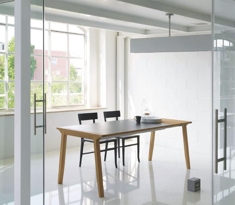 Tavolo allungabile con piano in legno per sala da pranzo  IDFdesign