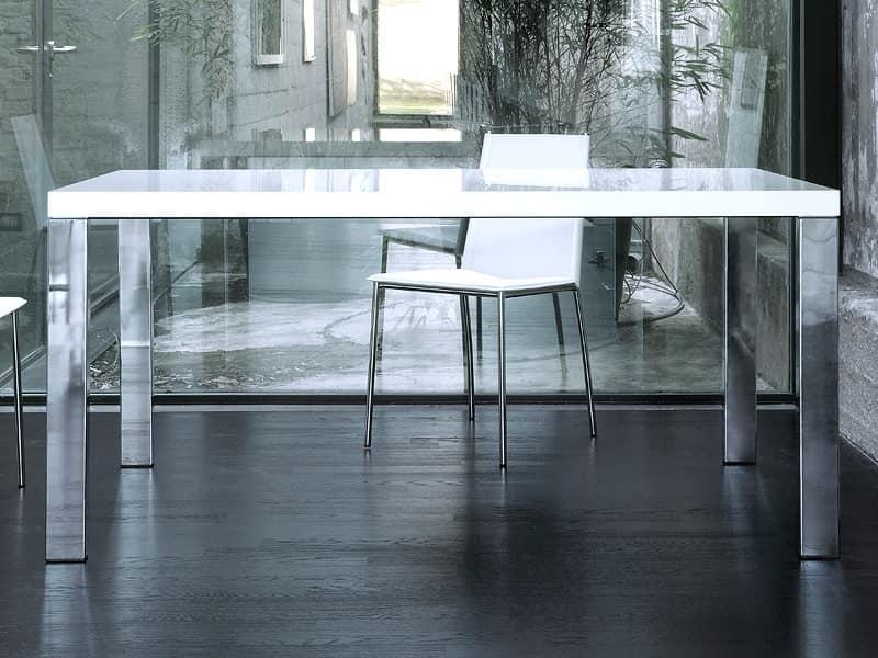 Tavolo rettangolare con base in acciaio cromato piano in PET  IDFdesign