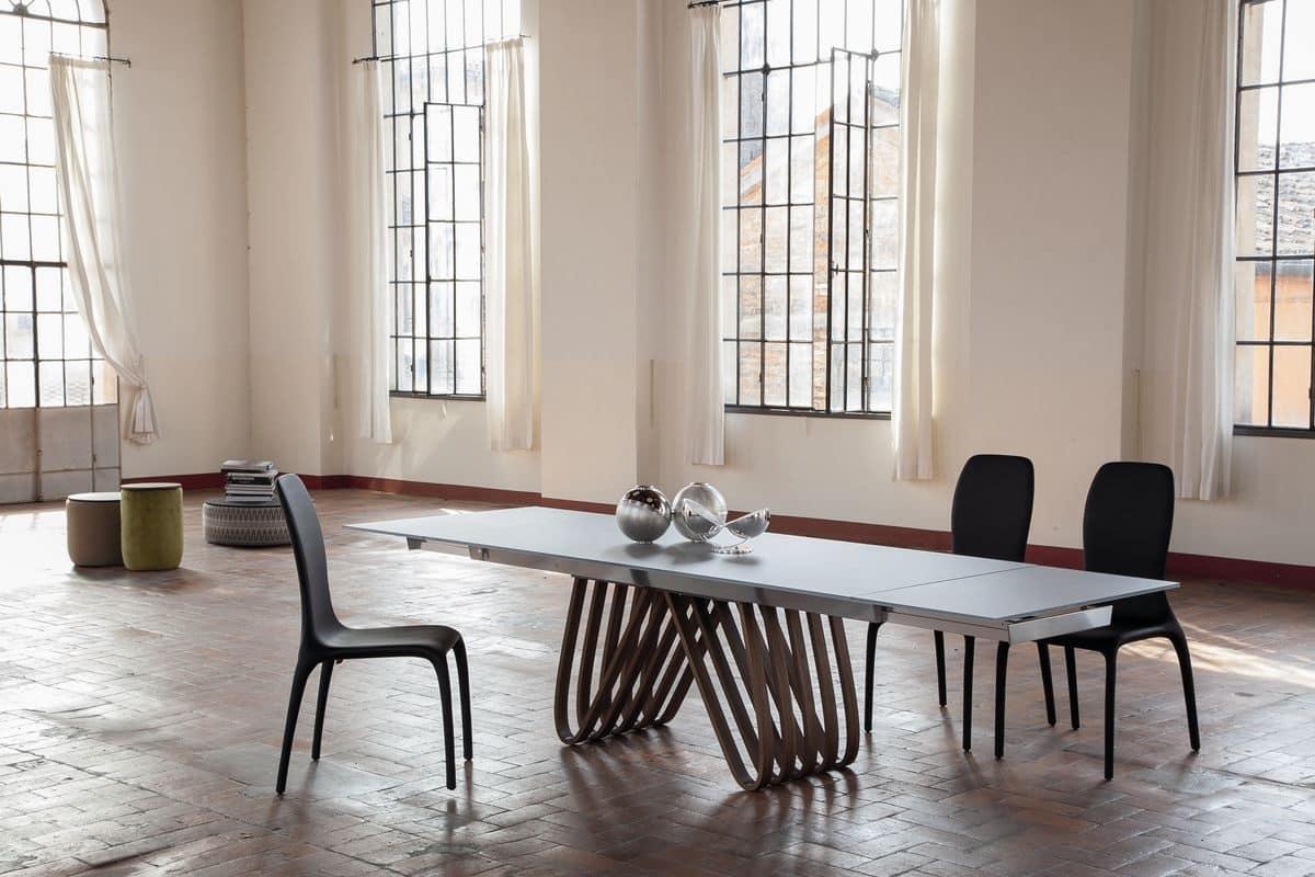 Tavolo allungabile ccon piano in vetro per la casa  IDFdesign