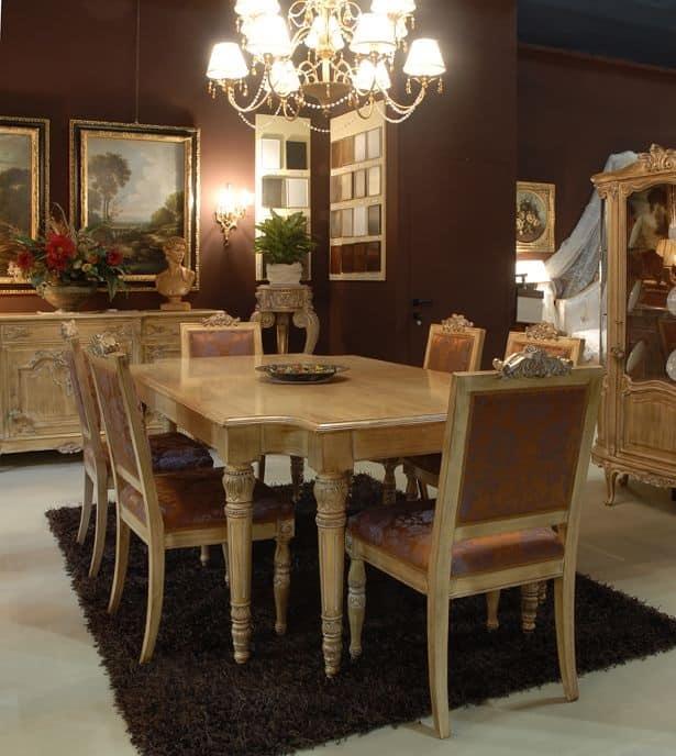Tavolo con sedie imbottite per sala da pranzo classico di lusso  IDFdesign