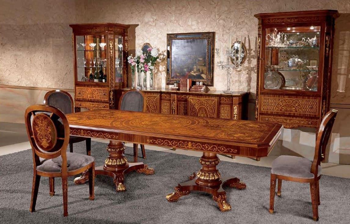 Tavolo rettangolare in legno intarsiato in stile