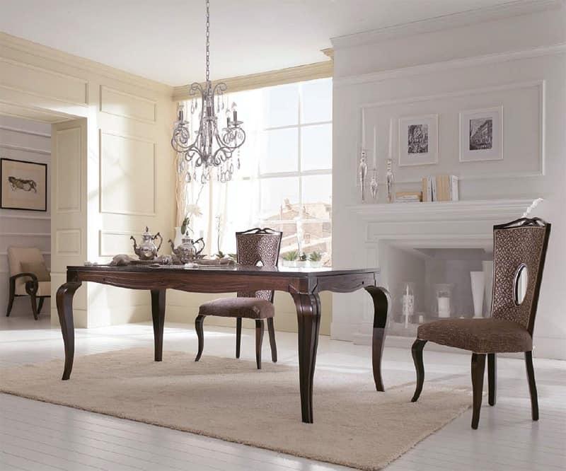 Tavolo classico tavolo da pranzo tavolo in legno decorato a bassorilievo Sala ristorante Sala