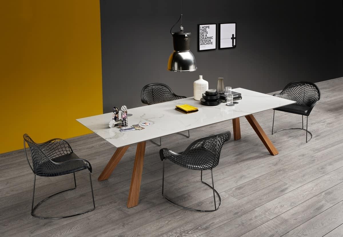 Tavolo in legno con piano in marmo  IDFdesign