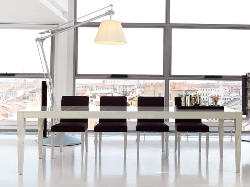 Tavolo da pranzo allungabile laccato opaco o lucido  IDFdesign