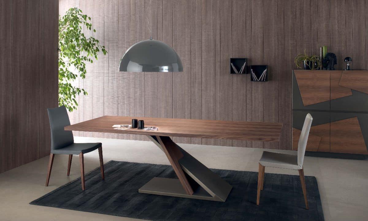 Tavolo design in metallo impiallacciato per cucina  IDFdesign