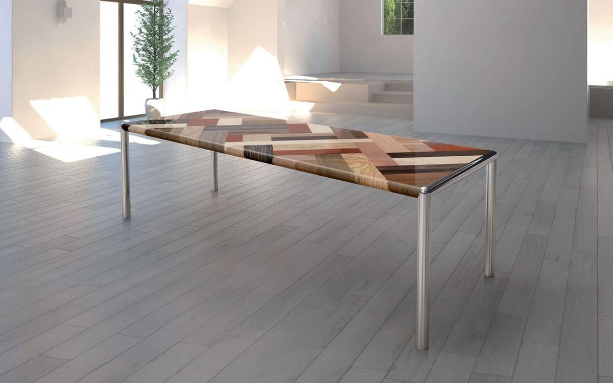 Tavolo grande piano in legno gambe in metallo  IDFdesign