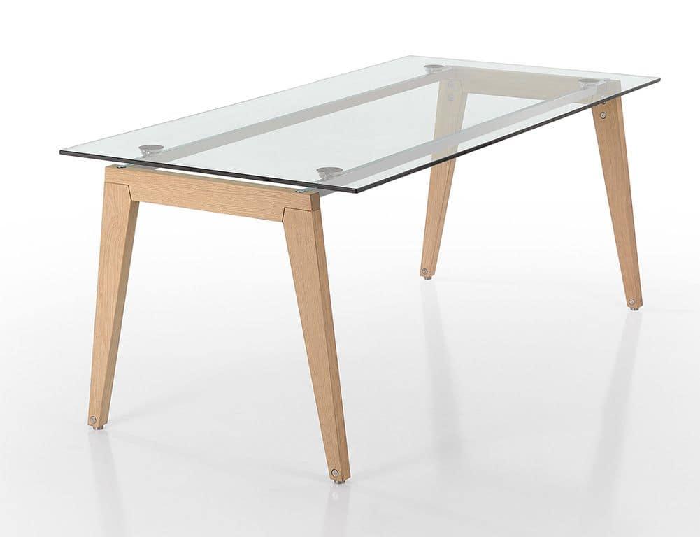 Tavolo rettangolare con gambe in legno e piano in vetro  IDFdesign