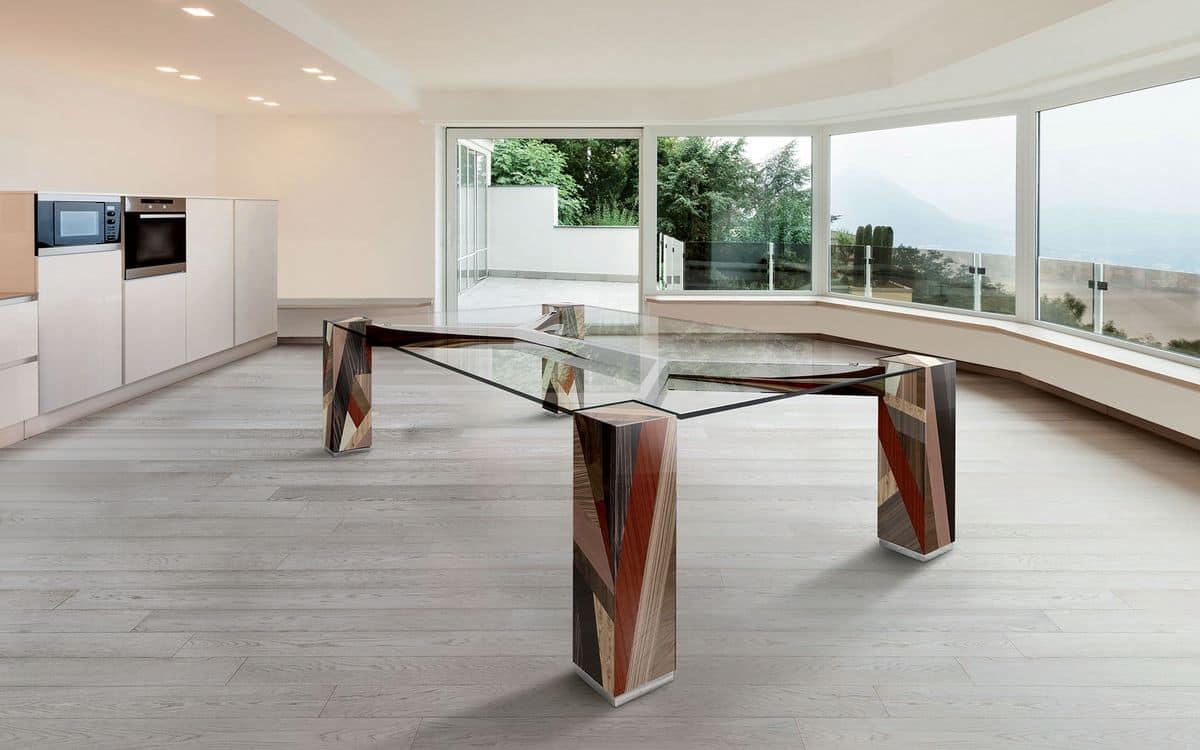 Tavolo rettangolare piano in vetro gambe in legno massello  IDFdesign