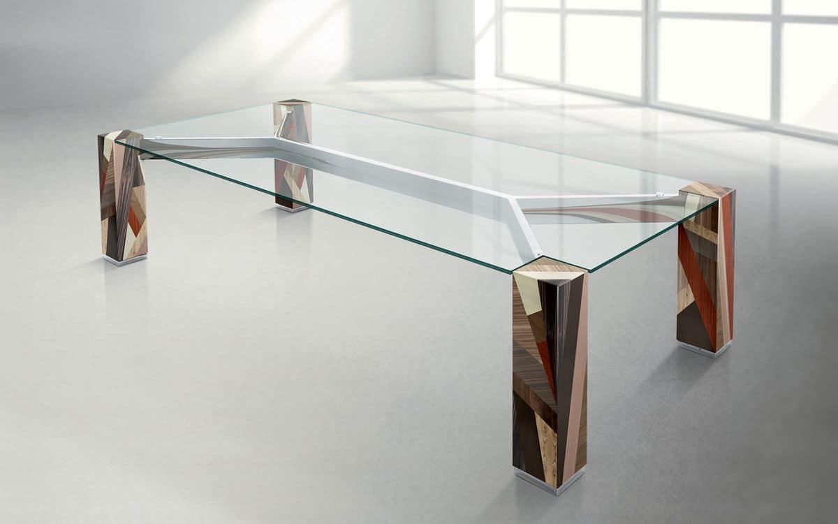 Tavolo in legno massello incrociato piano rettangolare in cristallo  IDFdesign