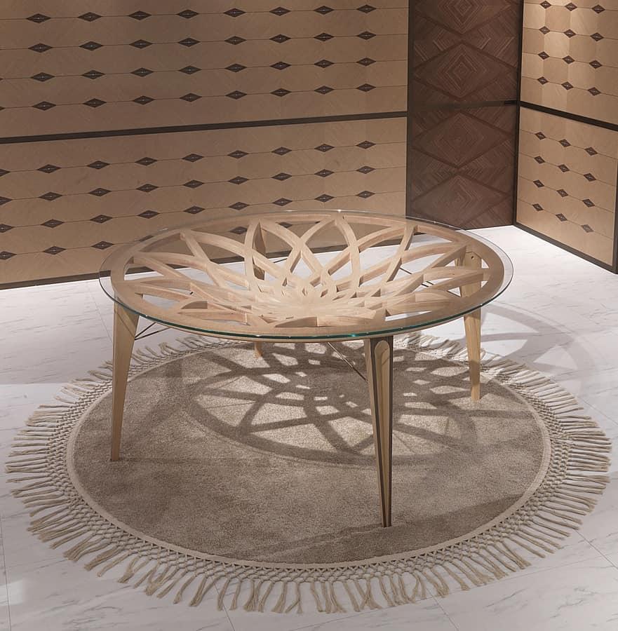 Tavolo rotondo in legno e vetro per salotti moderni