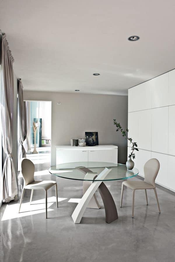 Tavolo da pranzo con piano tondo in vetro per ristorante  IDFdesign