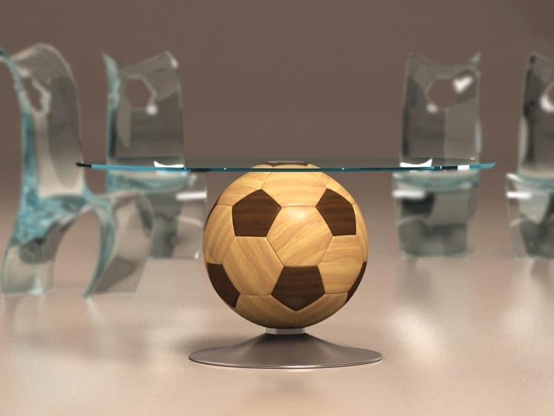 Tavolino tondo con base in legno a forma di pallone piano