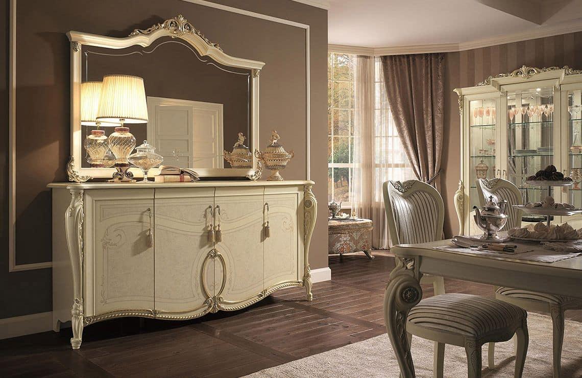 Credenza 4 ante finiture foglia oro per soggiorno in