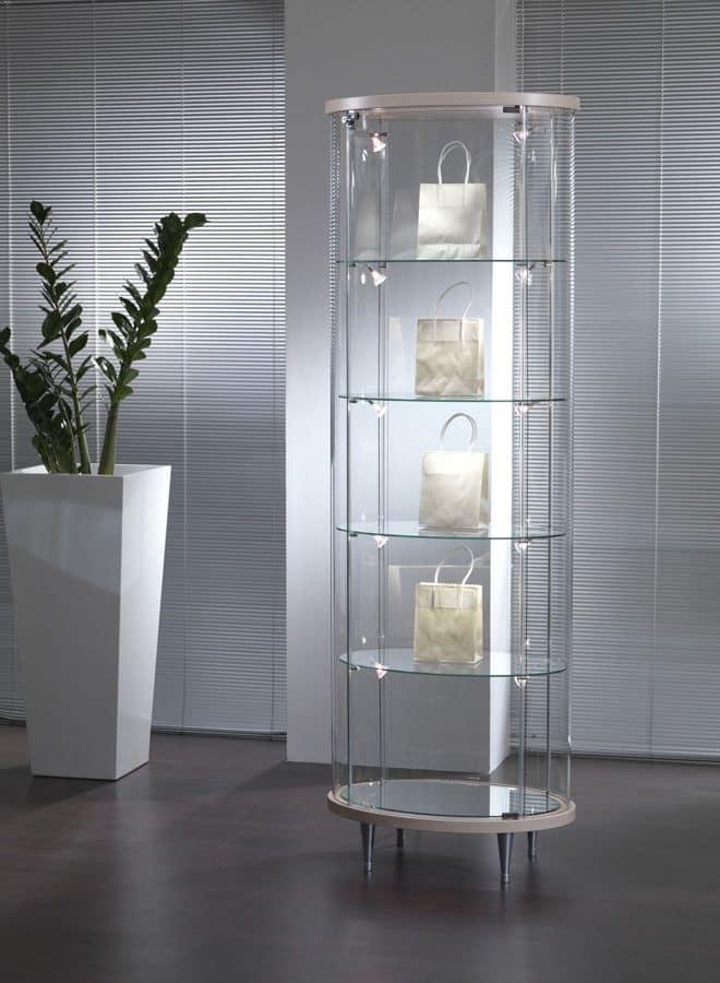 Vetrina a colonna in cristallo per negozi e salotti