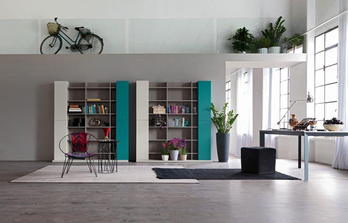 Moderne Zusammensetzung fr Wohnzimmer mit Bibliothek  IDFdesign