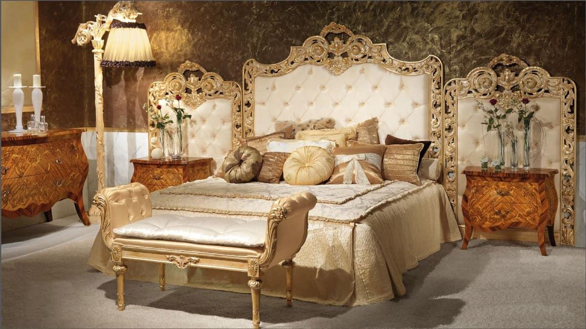 Luxurises Bett Polsterkopfteil bschelig handgeschnitzt