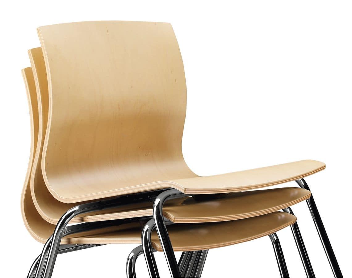 Stuhl mit Kufen Sperrholzschale  IDFdesign