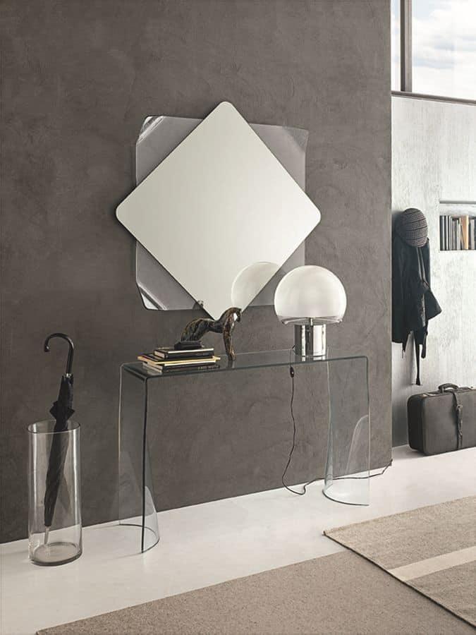 Gebogenes Glas Konsole und Spiegel fr moderne Umgebungen