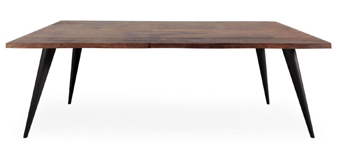 Fester Tisch aus Holz mit schrgen Beinen aus Metall