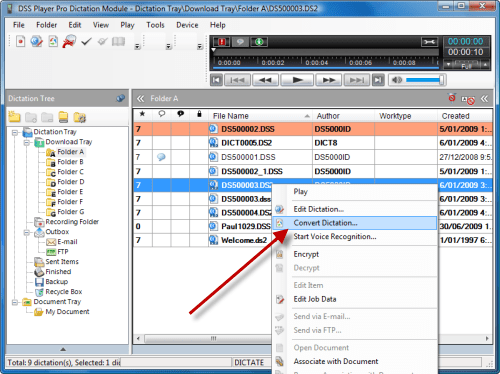Convert .ds2 files to .dss inside the DSS Player Pro dictation module on Windows