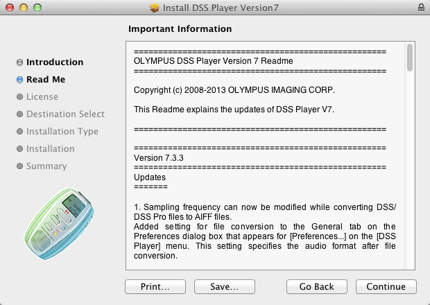 Olympus Update Upgrade DSS PLayer Plus v7 for Mac 7.3.3 Nuance Dragon Compatible