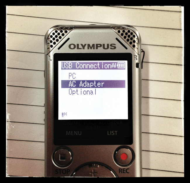 Olympus WS USB Power Settings