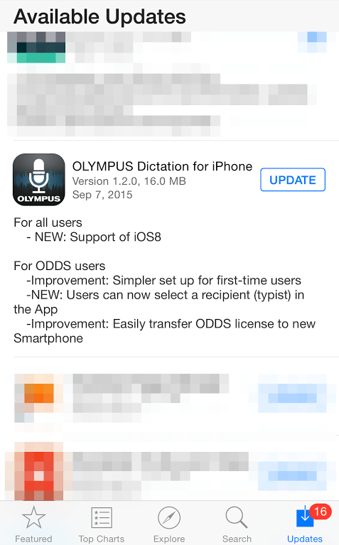 Olympus Dictation iOS App v1.20 ODDS