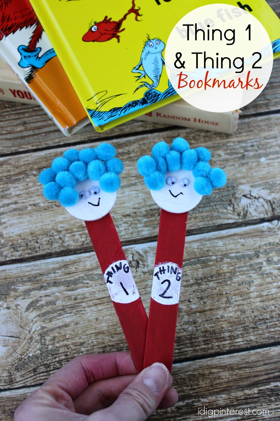 Dr Seuss Kids Craft Thing One And Thing Two Bookmarks