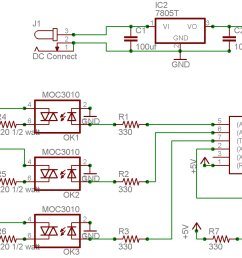 the outputs from the microcontroller go to three optoisolators moc3010 which in turn drive three triacs bta10 to feed power to the three lamps connected  [ 1806 x 946 Pixel ]