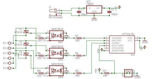 small resolution of the outputs from the microcontroller go to three optoisolators moc3010 which in turn drive three triacs bta10 to feed power to the three lamps connected