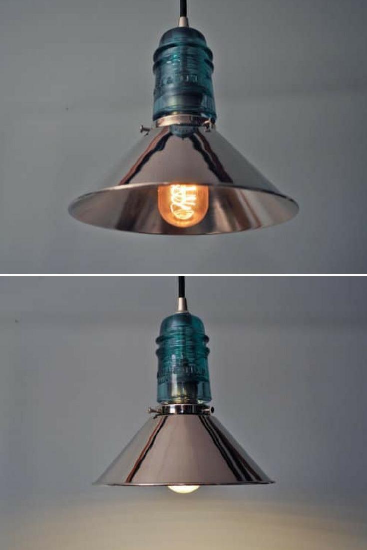 Vintage Glass Insulator With Chrome Shade Pendant Lighting Id Lights