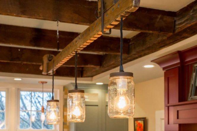 Modern Farmhouse Lighting With Wood Chandelier Lamps Restaurant Bar Pendant