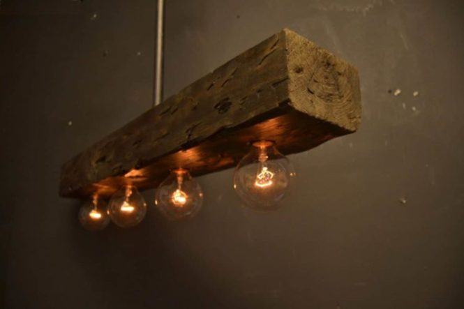 Reclaimed Wood Chandelier Light Fixture Lamps Restaurant Bar Pendant