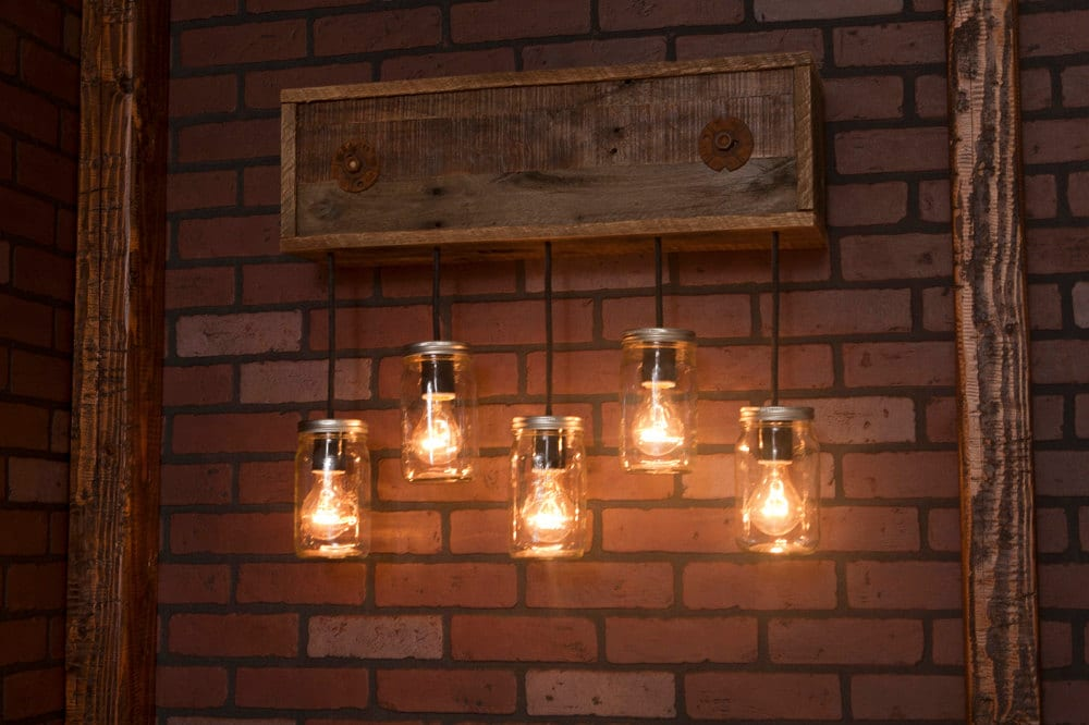 Mason Jar Wall Sconce With Reclaimed Wood Pendants ID Lights