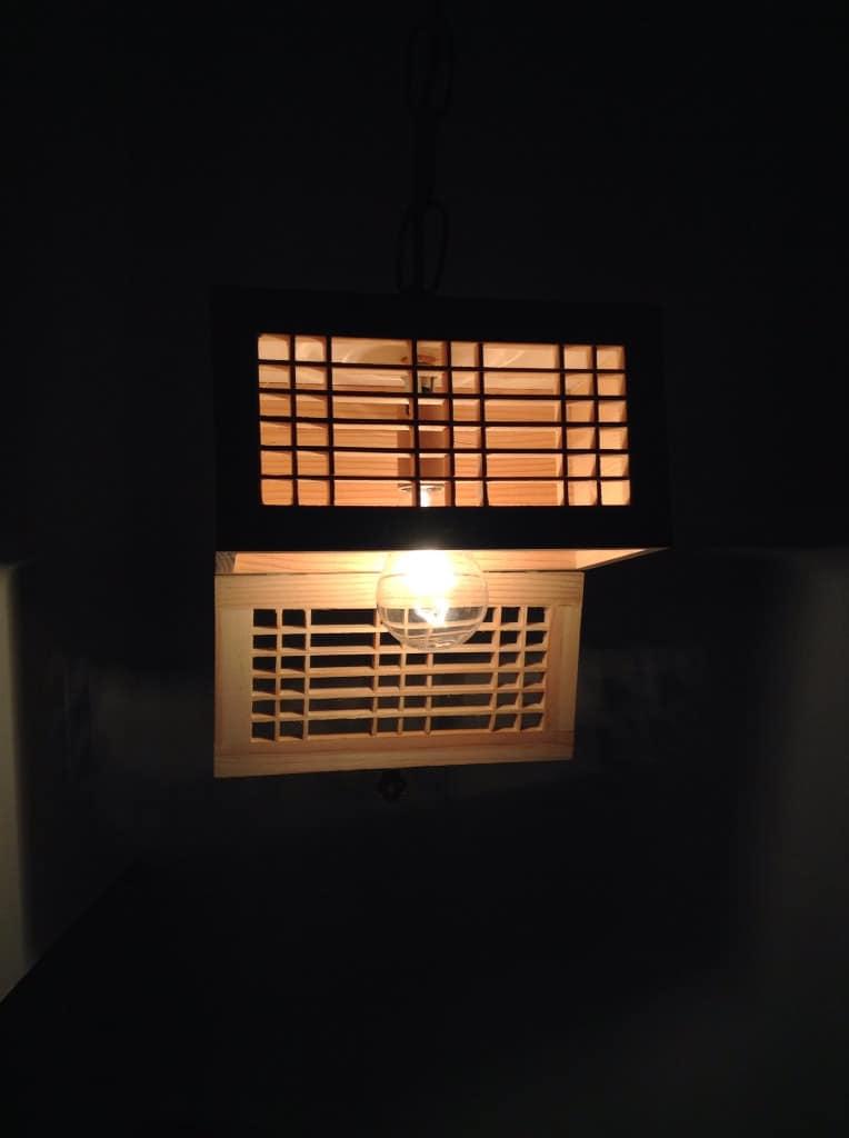 Wooden Rectangular Pendant Lighting Shade  iD Lights
