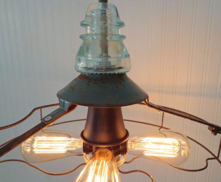 Industrial Vintage Fan Chandelier with Edison Filament