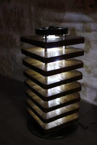 DIY Floor Lamp with Wood Oak and Car Parts  iD Lights