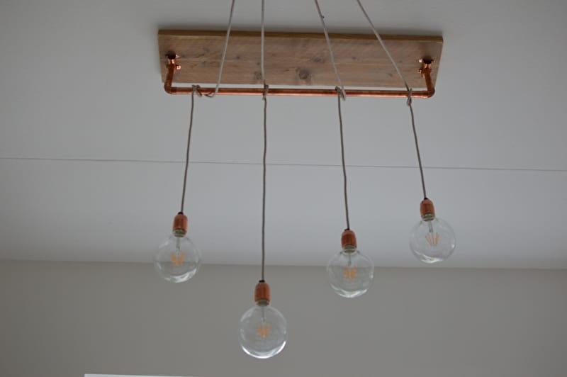 Beautiful Brass and Wood Chandelier  iD Lights