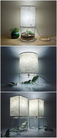 Handmade Terrarium Paper Table Lamp  Modern & Vintage
