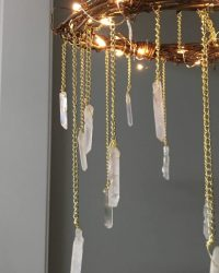 Bohemian Wood & Crystal Chandelier  iD Lights