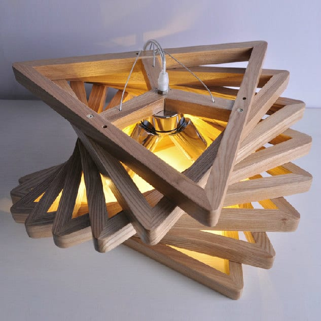 Triangle Tunnel Solid Wood Chandelier  iD Lights