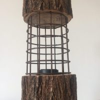 Rustic Log Lamp with Metal Cage  iD Lights