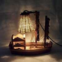 Wooden Handicraft Sailboat Desk Lamp  iD Lights