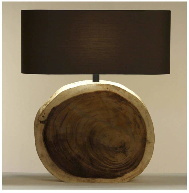 Natural Wood Plank Circle Table Lamp  iD Lights